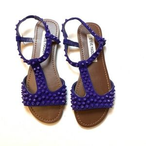 Steve Madden Blue Purple Spike Sandals 5.5